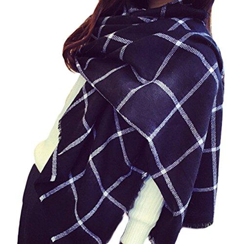 Miya® modische Damen Herbst/Winter lange Strickschal, Oversized Grobstrick Schal, super weich und hochwertige Umhang, (Blau-groß Gitter)