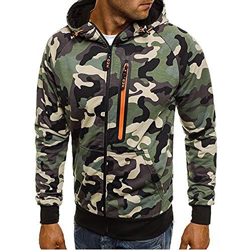 MEIbax Herren Camouflage Zipper Pullover Langarm mit Kapuze Sweatshirt Hoodie Kapuzenjacke Sweatjacke Mäntel Shirt Tops Bluse -