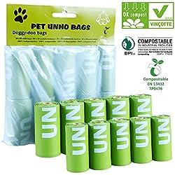 100pcs Bolsa Caca Perro Mascotas Gatos Compostables Ecológicas Inodoras , Bolsa Excremento para Perro, Pack De 10 Rollos De 10 Bolsas Cada Uno En Total 100 Bolsas, Bolsa de 33 Cm de Largo *23 Cm de Ancho