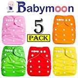 Babymoon Washable Baby Diaper Premium Cloth Diaper Reusable, Adjustable Size, Waterproof, Pocket Cloth Diaper Nappie (Without Insert) (Pack of 5, Set of 5)