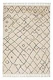 Urban creme 6396 184 001 - Hochflor Webteppich - Schöner Wohnen – moderner Berber Look - 4 Designs in Creme und Grau in 4 Größen. Hochflor, pflegeleicht, antistatisch, fußbodenheizungsgeeignet (133 x 190 cm)