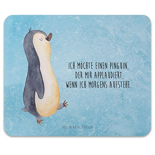 Mr. & Mrs. Panda Mauspad Druck Pinguin marschierend - 100% handmade in Norddeutschland - Pinguin, Pinguine, Frühaufsteher, Langschläfer, Bruder, Schwester, Familie Mouse Pad, Mousepad, Computer, PC, Männer, Mauspad, Maus, Geschenk, Druck, Schenken, Motiv, Arbeitszimmer, Arbeit, Büro