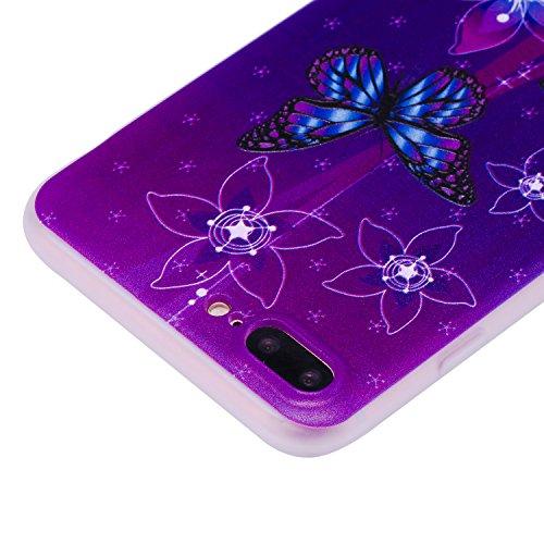 Coque iPhone 7 Plus (5,5 Pouces) ,BONROY® Ultra-Mince Soft Silicone Etui de Protection pour Modèle de peinture Souple Gel TPU Bumper Anti-Scratch Housse Case Cover Pour iPhone 7 Plus (5,5 Pouces) Fleurs de papillon