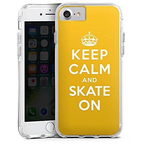 Apple iPhone 7 Bumper Hülle Bumper Case Glitzer Hülle Keep Calm Skateboard Skaten Bumper Case transparent