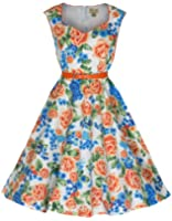 Lindy Bop 'Yulia' Vintage 1950's Classy Miami Beach Floral Swing Dress