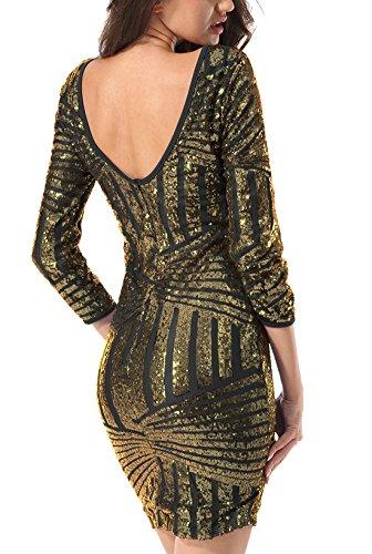 Yidarton Damen Paillettenkleid Langarm Rundhals Backless Partykleid Ballkleid Abend Minikleid (Gold,...