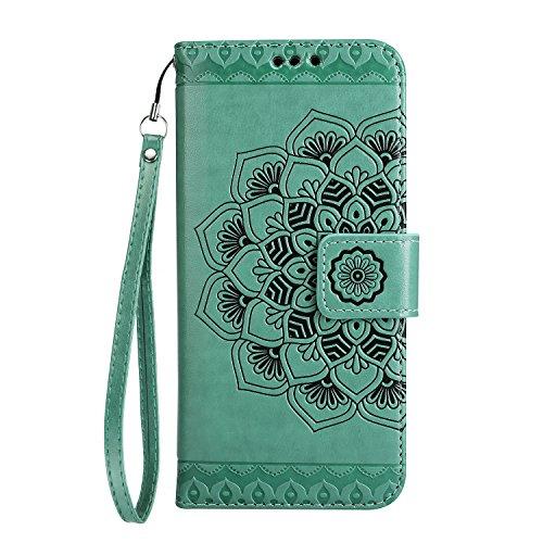 Coque iPhone 8 Plus, Coque iPhone 7 Plus, Étui en Cuir de Protection Housse Étui iPhone 8 / 7 Plus, Mandala Coque iPhone 8 / 7 Plus Wallet Housse, BONROY PU Leather Case Wallet Flip Protective Cover P Vert