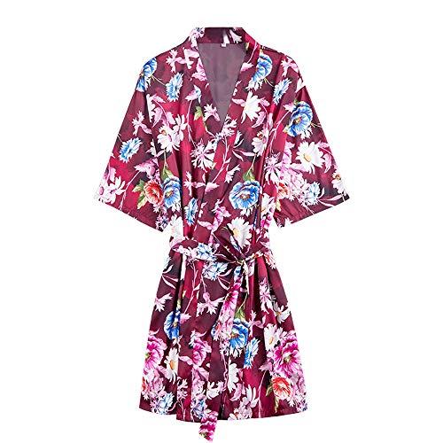 YMYJZ Kimono-Morgenmantel Aus Seidensatin, Kimono-Robe Mit Blumenmuster Für Frauen Pyjamas Für Bonding-Partys Mit Seidenhochzeitsmädchen Nachthemd Nachtwäsche,Rot,L