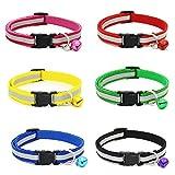 Haustierkragen,BEETEST 6 PCS 6 Farben Mode Hund Welpen Katze Kragen Halskette Reflektierende Stil Einstellbare mit Glocke