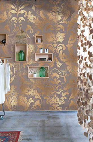 Vlies Foto Tapete Wandbild Barock Muster Ornament braun beige gold 200x300 cm OZ3727