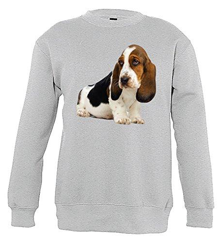 Basset Hound Dog Funny Boys & Girls / Jungen & Mädchen Unisex Sweatshirts (106/116 cm) (Kinder Hound Sweatshirt)