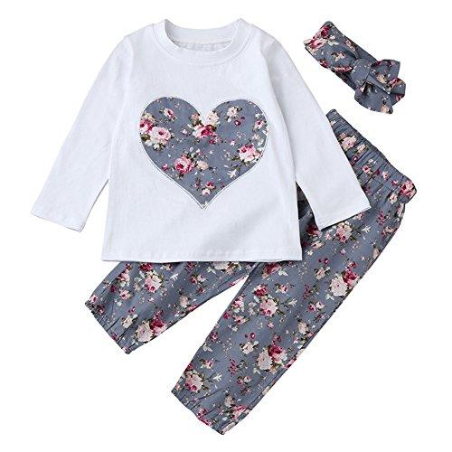 SCFEL Neugeborenes Baby Blumen Liebes-Herz-lange Hülsen Oberteile + Hosen + Stirnband 3 Stück Kleidungs-Satz (12-18 Monate, Violett)