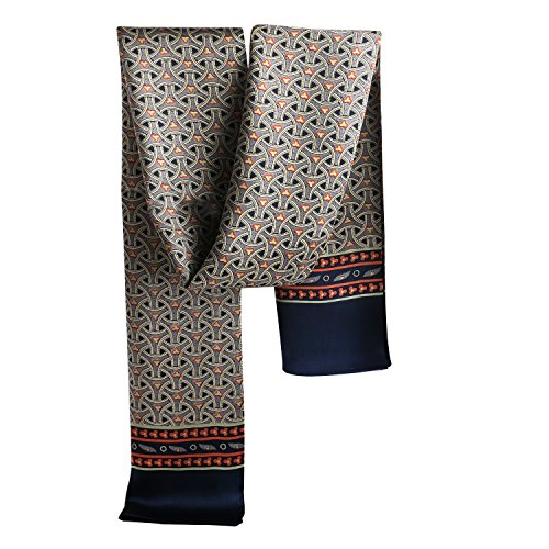 SWEETBB eleganter gedrukter Seid doppel männlicher Schal, Seidenschal Seidentuch Halstuch Tuch für Herren Männer, 100% Seidensatin (Weben-Dunkelblau) (Schal Muster Männer)