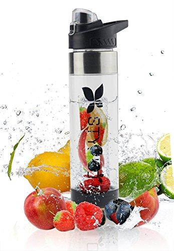 Bouteille d'eau à infusion de fruits transparente en plastique 700ml avec infuseur fruit pour l'intérieur, l'extérieur, le sport, le camping, la détox, respectueuse de l'environnement, sans BPA (Noir, 700ml) - Plus recettes
