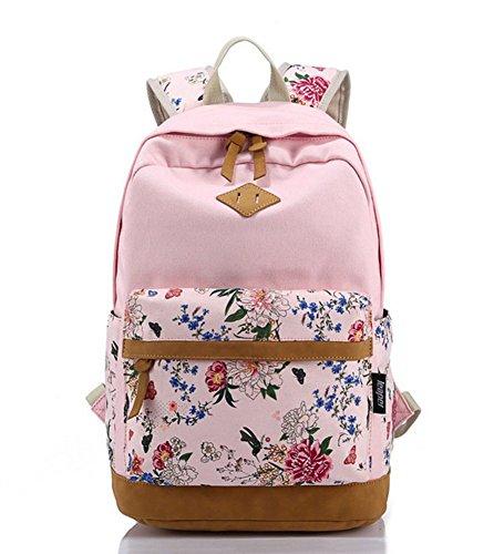 Samgu zaino ragazza/donna scuola in tela e pelle zainetto per viaggi casual trekking -rosa