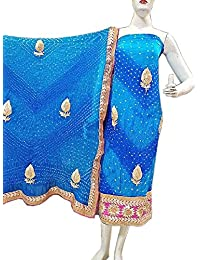 Jaipuri Rajasthani Suit Art Silk Bandhej Gota Patti Work Sky Blue Color
