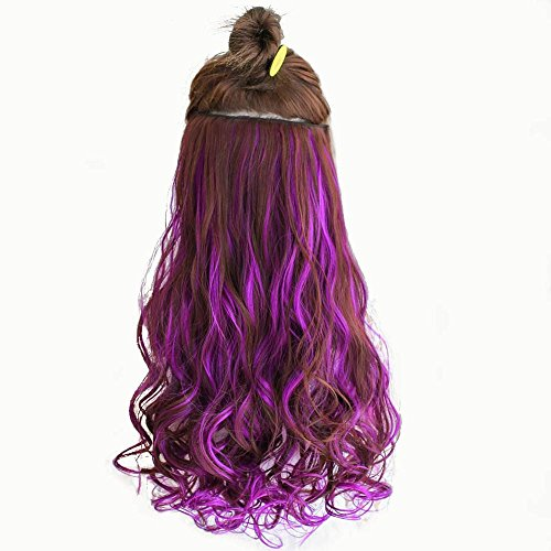 shangke 61cm lang farbigen lockiges Haar Extensions 5Clip In Hair Extensions Hitzeresistente Synthetik Fake Haar (Extensions Clip Hair African In)