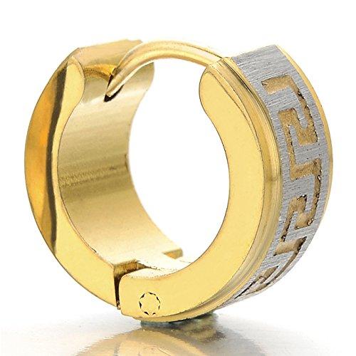 Paar Edelstahl Satiniert Gold Creolen mit Griechischen Schlüsselmuster Herren Jungen, Huggie Ohr Manschette Ohrringe