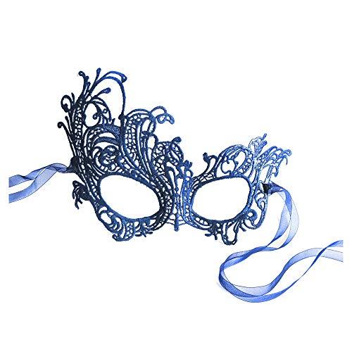 Schön Renaissance Navy Blau Spitze Venezianische faschingsmasken Maskerade maskenball Maske - Für Erwachsenen Mann Der Renaissance Kostüm