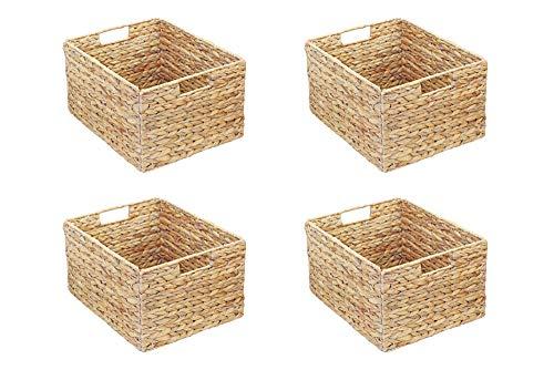 Inwona IKEA Molger Regal Korb 30 x 21 x 37 cm aus Wasserhyazinthe Natur Faltkorb Flechtkorb Regalbox Storage Box Aufbewahrungskorb Schrankkorb klappbar faltbar und sehr stabil 4er-Set Sparpreis
