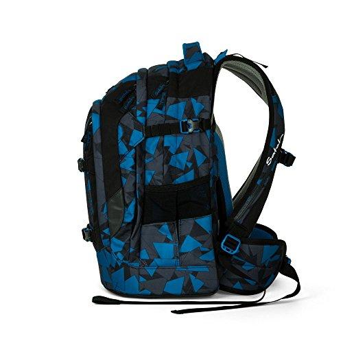 Satch Pack by Ergobag - 2tlg. Set Schulrucksack (+SchlamperBox Etui) - Blue Triangle - 2