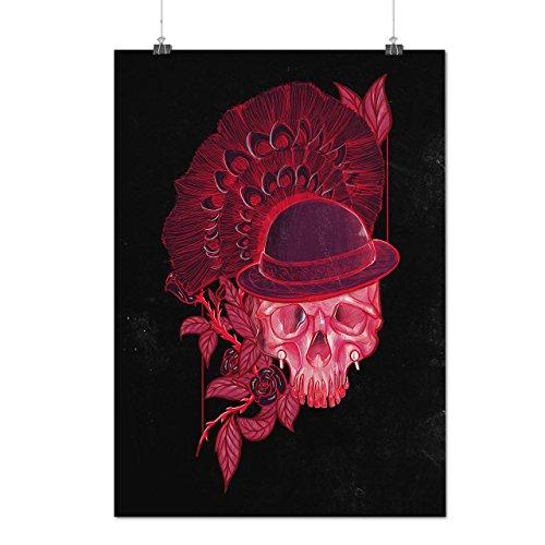 Rot Schädel Blume Natur Mattes/Glänzende Plakat A3 (42cm x 30cm) | Wellcoda (Beste Thriller Kostüme)