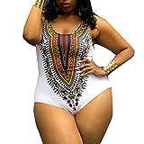 GreatestPAK Badeanzug Mode Übergröße African Characteristic Printing Einteilige Bikini Bademode (XXXL, weiß)
