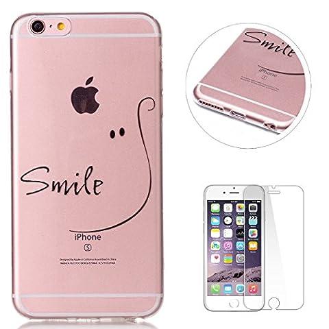 Coque iPhone 6/6S Gel de Silicone Housse [Avec Gratuit Protections