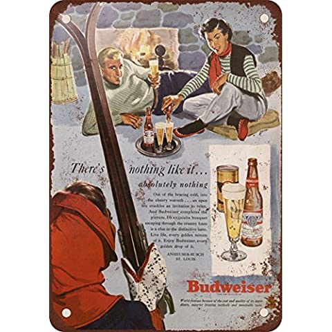 1949Budweiser Sci e Look Vintage Riproduzione in metallo Tin Sign 17,8x 25,4cm