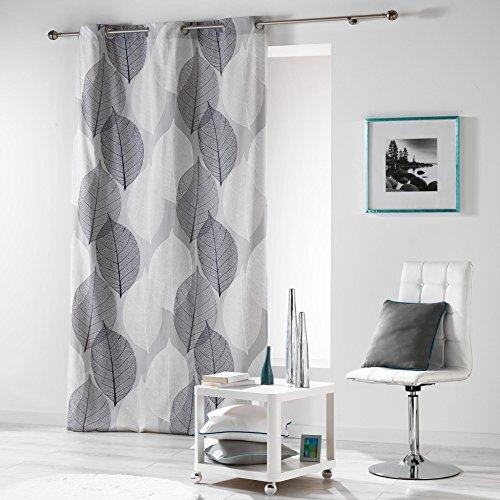 Coton d'interieur coton d'intérieur, solo tenda a occhielli, cotone, grigio, 140 x 280 cm