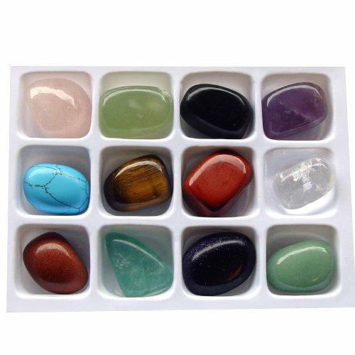 12 Stück Edelsteine Trommelsteine ca. 20 x 15 mm Steinarten einzeln benannt: z.B. Rosenquarz Bergkristall Amethyst und viele andere Edelsteine.(3324)