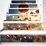3D Christmas stickers Stair Decal Removable Art Home Decorations DIY Wall stickers 100cm*18cm* 6pcs ,L058 , 100cm*18cm