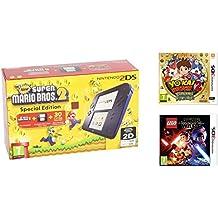 Consola Nintendo 2DS Azul + New Super Mario Bros 2 + Yo-Kai Watch 2: Carnánimas + LEGO Star Wars: El Despertar De La Fuerza