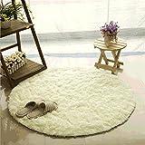 Teppich, CAMAL Runde Seide Wolle Material Yoga Teppich für Wohnzimmer Schlafzimmer und Bad (140cm, Milch Weiß)