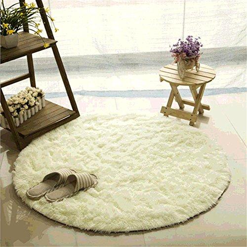Teppich, CAMAL Runde Seide Wolle Material Yoga Teppich für Wohnzimmer Schlafzimmer und Bad (160cm, Milch Weiß)