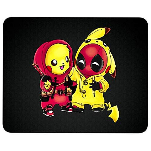 """Pikachu Deadpool Mauspad mit rutschfester Gummiunterseite, für Laptop, Computer und PC 9.25""""x 7.75"""" Mouse Pad - Black"""