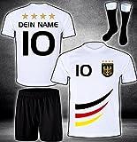 ElevenSports Deutschland Trikot + Hose + Stutzen mit GRATIS Wunschname + Nummer + Wappen Typ #D 2019 im EM/WM Weiss - Geschenke für Kinder,Jungen,Baby. Fußball T-Shirt personalisiert