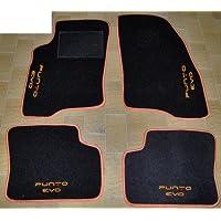 Tappeti per auto, Set Completo di Tappetini in Moquette su Misura con Bordo Arancione e Ricamo a Filo Arancione