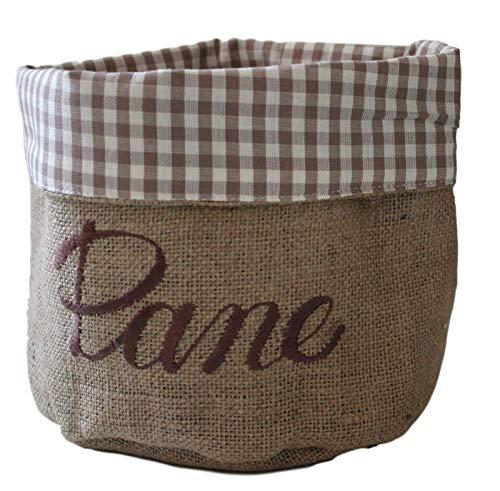 Ricami fiorentini cestino porta pane in cotone e juta, con ricamo. prodotto artigianale toscano di alta qualita'