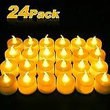 LED Kerzen, Nasharia LED Teelichter 24 Flammenlose Warmweiß Kerzen, Flackern Flameless Elektrische Kerze Lichter Dekoration für Weihnachten, Halloween,Ostern,Hochzeit, Party