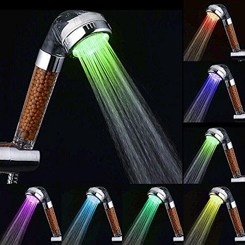 Kusun 7 Farben LED Handbrause Duschkopf mit 145cm Brauseschlauch Druck Wassereinsparung Lonic...