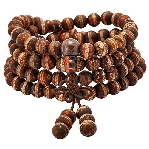 KYEYGWO 108 Gebet Mala Perlen Armband für Damen Herren, 8mm Tibetisch-buddhistischen Heilstein Halskette für Unisex, Gestreifter Schwarzer Achat