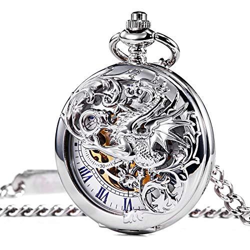 TREEWETO taschenuhr mit Kette Silber doppelabdeckungen blau römische ziffern Drache gehäuse Retro Uhr taschenuhren mechanisch Pocket Watch