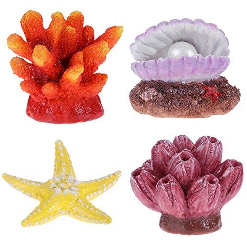 UEETEK Aquarium Decor, Aquarium Dekoration, Aquarium Ornaments Kunststoff, Bunt, Fische Verstecken Coral Reef Set, 4Stück - Reef Dekoration Coral Aquarium