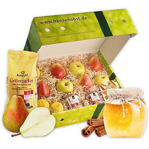 Rezeptbox Birnen-Apfel-Marmelade mit Zutaten für eine leckere Marmelade mit Äpfeln und Birnen in klassischer Geschenkbox