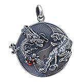 FORFOX Colgante de Dragon y Tigre Yin Yang de Plata de Ley 925...