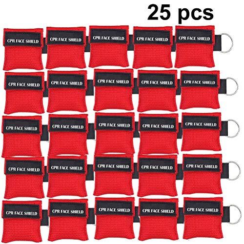CPR Maske Schlüsselanhänger, Packung mit 25 Stück Rot CPR-Maske Schlüsselbund Keyring Erste-Hilfe-Sets