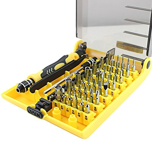 NIUTOP 45 en 1 Herramienta de apertura portátil profesional compacto Kit de destornilladores con pinzas y la extensión del eje para el mantenimiento o la reparación precisa