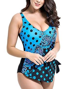 Missyhot Traje de Baño para Gorditas Mujeres Bañador Retro de Una Pieza de Lunares Monokini Bikini Telas Estampados...