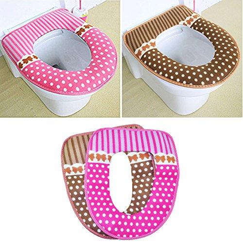 EQLEF® 2 Stück Winter Warmer Toilettensitzabdeckung Bequem WC-Sitz-Auflage-Matte